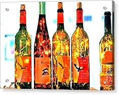 Wine Bottle Lights Acrylic Print by Margaret Hood