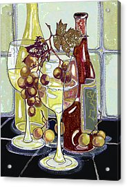 Wine Bottles Grapes And Glasses Acrylic Print by Peggy Wilson