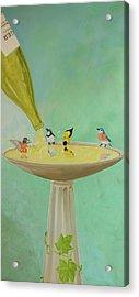 Wine Country Bird Bath Acrylic Print by Deb Breton