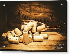 Wine Glass With An Assortment Of Bottle Corks Acrylic Print by Jorgo Photography - Wall Art Gallery