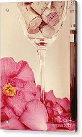 Wine With Camellia Acrylic Print by Kim Fearheiley