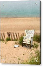 Wingback Chair At The Beach Acrylic Print by Jill Battaglia
