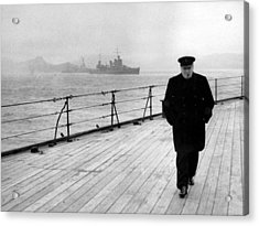 Winston Churchill At Sea Acrylic Print by War Is Hell Store