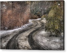 Winter - Road - The Hidden Road Acrylic Print by Mike Savad
