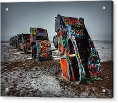 Winter At Cadillac Ranch 001 Acrylic Print by Lance Vaughn