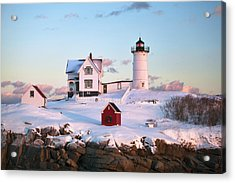 Winter At Nubble Acrylic Print by Eric Gendron