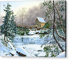 Winter At The Mill Glade Creek Grist Mill West Virginia Acrylic Print by Richard Devine