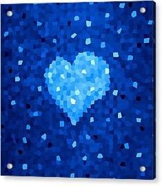 Winter Blue Crystal Heart Acrylic Print by Boriana Giormova