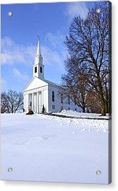 Winter Church Acrylic Print by Evelina Kremsdorf
