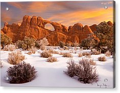 Winter Dawn At Arches National Park Acrylic Print by Utah Images