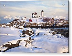 Winter Evening At Nubble Lighthouse Acrylic Print by Eric Gendron