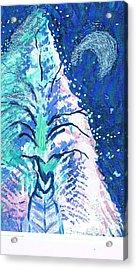 Winter Fantasy Tree With Moon Acrylic Print by Anne-Elizabeth Whiteway