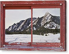 Winter Flatirons Boulder Colorado Red Barn Picture Window Frame  Acrylic Print by James BO  Insogna