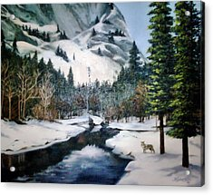 Winter Half Dome Acrylic Print by Beverly Johnson