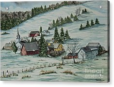 Winter In East Chatham Vermont Acrylic Print by Charlotte Blanchard