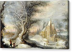 Winter Landscape With A Woodcutter Acrylic Print by Gysbrecht Lytens or Leytens