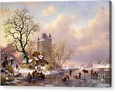 Winter Landscape With Castle Acrylic Print by Frederick Marianus Kruseman