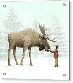 Winter Moose Acrylic Print by Eric Fan