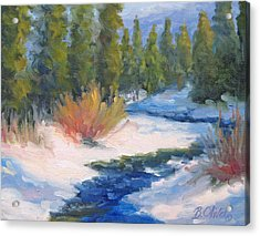 Winter On Gore Creek Acrylic Print by Bunny Oliver