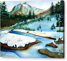 Winter Retreating Acrylic Print by Karen Stark