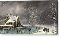Winter Scene Acrylic Print by Louis Claude Mallebranche