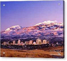 Winter Skyline Of Reno Nevada Acrylic Print by Vance Fox