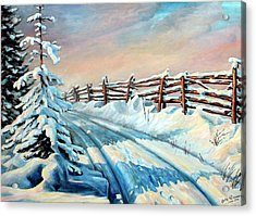 Winter Snow Tracks Acrylic Print by Hanne Lore Koehler