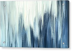 Winter Sorrows - Blue And White Abstract Acrylic Print by Lourry Legarde
