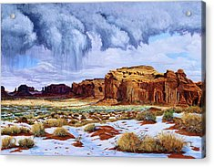 Winter Storm In Mystery Valley Acrylic Print by Timithy L Gordon