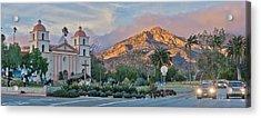 winter Sunset Santa Barbara Mission  Acrylic Print by John Pierpont