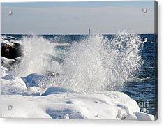Winter Waves At Grand Marais Acrylic Print by Sandra Updyke