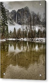 Wintery Upper And Lower Yosemite Falls  Acrylic Print by Connie Cooper-Edwards