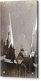Wintry Church Acrylic Print by AlyZen Moonshadow