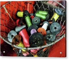 Wire Basket With Thread Acrylic Print by Susan Savad