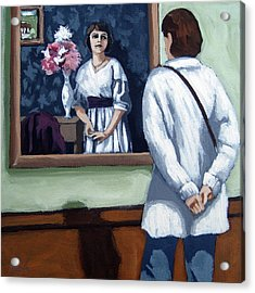 Woman At Art Museum Figurative Painting Acrylic Print by Linda Apple