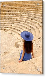 Woman At Greco-roman Theatre At Kourion Archaeological Site In C Acrylic Print by Oleksiy Maksymenko