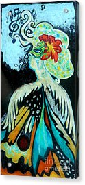 Woman At The Masquerade Ball Acrylic Print by Genevieve Esson