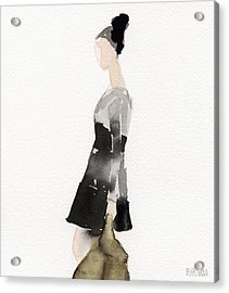 Woman In A Black And Gray Dress Fashion Illustration Art Print Acrylic Print by Beverly Brown Prints