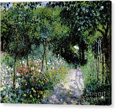 Woman In A Garden Acrylic Print by Pierre Auguste Renoir