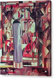 Woman In Front Of A Large Illuminated Window Acrylic Print by August Macke