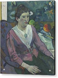 Woman In Front Of A Still Life By Cezanne Acrylic Print by Paul Gauguin