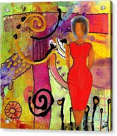 Woman In Red Acrylic Print by Angela L Walker