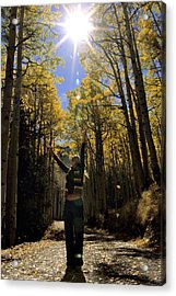 Woman In The Falling Leaves Acrylic Print by Dawn Kish