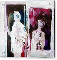 Woman In Window   Man In Door  Acrylic Print by Chris Walker