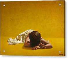 Woman In Yellow Acrylic Print by Horacio Cardozo