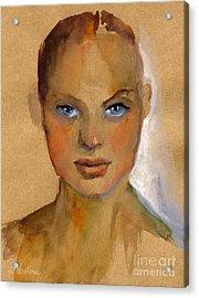 Woman Portrait Sketch Acrylic Print by Svetlana Novikova