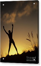 Woman Stretching On A Mountain Acrylic Print by Dana Edmunds - Printscapes