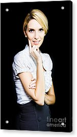 Woman Totally Captivated By What She Is Watching Acrylic Print by Jorgo Photography - Wall Art Gallery