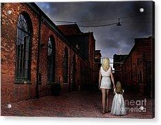 Woman Walking Away With A Child Acrylic Print by Oleksiy Maksymenko