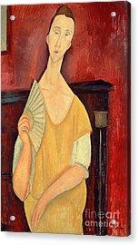Woman With A Fan Acrylic Print by Amedeo Modigliani